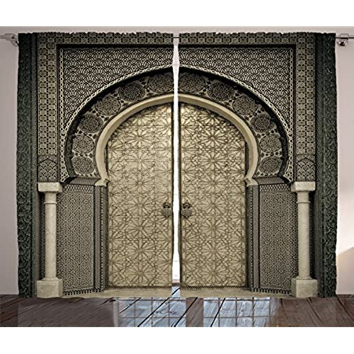 Ambesonne Moroccan Decor Curtains, Aged Gate Geometric Pattern Doorway  Design Entrance Architectural Oriental Style, Living Room Bedroom Decor, 2  Panel Set, ...