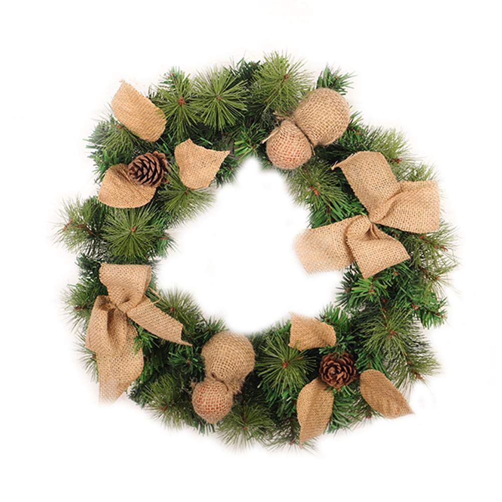 PVC Linen Christmas Wreath,Garland Christmas Home Window Hotel Shopping Mall Decoration Door Pendant Wreath Holiday Supplies