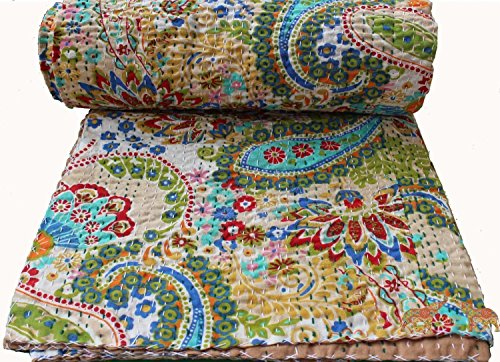 Mango Gifts Pure Cotton Kantha Style Quilt Bed Spread Indian Gudri Bed Cover Queen Size by Mango Gifts