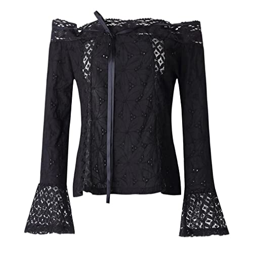 Mujer camisa de manga larga, Yannerr casual popular de Blusa de hombro encaje Tops