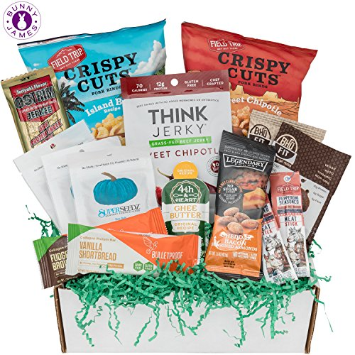 Low Carb KETO Snacks Box: Mix of Low Sugar High Fat Ketogenic Diet Snacks, Cookies, Protein Bars, Beef Sticks & Pork Rinds Keto Care Package by BUNNY · JAMES ·