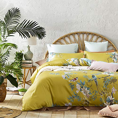 Exotic Modern Floral Print Bedding Birds Flowers Dusty Grey Design 100% Cotton Duvet Cover 3pc Set Hibiscus Blossom Branches in Muted Gray Blue (Queen, Citronelle ()