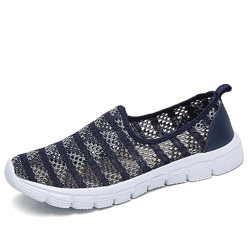 Zapatos para Corror Mujer Zapatillas de Deportiva Slip on Huecos Sneakers para Caminar Walking Calzado Malla