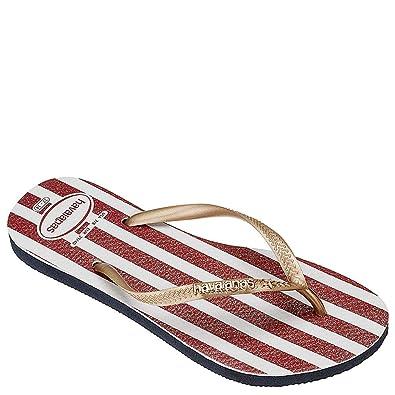 d95771d614f53e Havaianas Women s Slim USA Glitter Flip-Flops Navy Blue 35-36 M Bra
