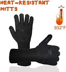 Oven Mitts, 932℉ High Heat Resistant Kitchen Oven Gloves Heavy Duty Cooking Gloves Extra Long with Non-Slip Silicone Surface for Cooking Baking BBQ Grill – Black
