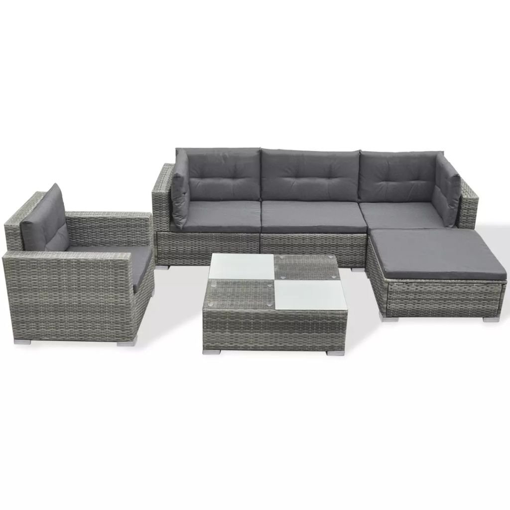 yorten Garden Corner Sofa Set 10 pcs Garden Lounge Set with Cushions Rattan  Garden Sofa and Table Set Outdoor Furniture