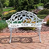 Sunnydaze 2-Person Classic Rose Cast Aluminum White Garden Bench