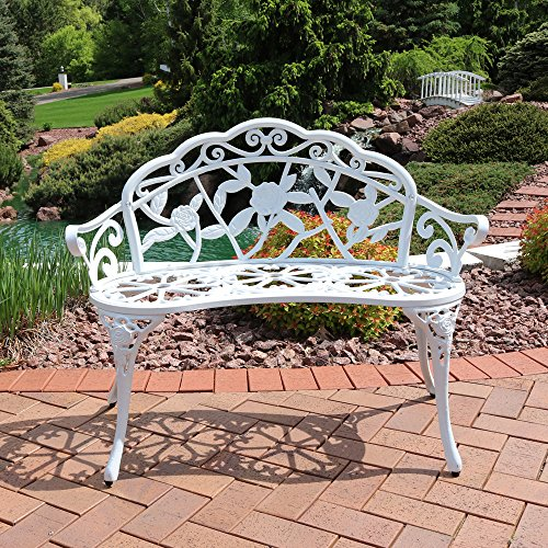Cast Aluminum Garden Bench (Sunnydaze 2-Person Classic Rose Cast Aluminum White Garden Bench)