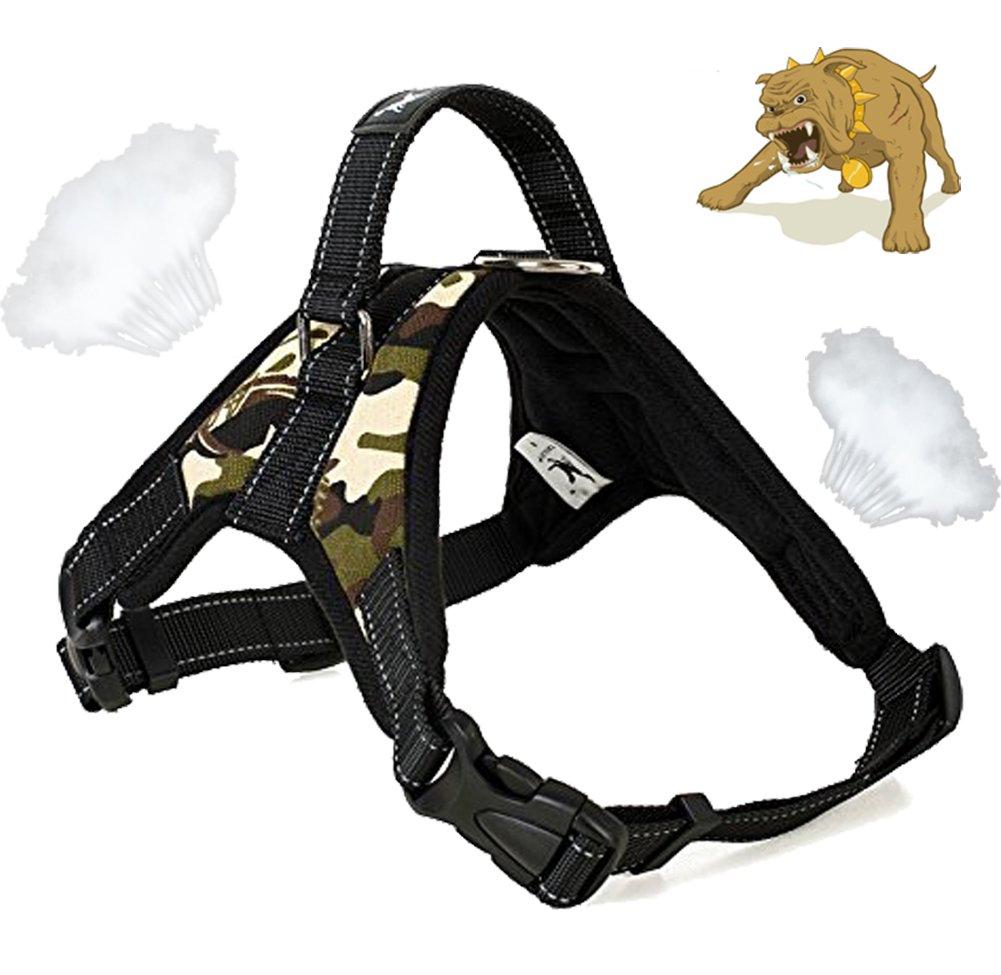 Alimao® Harnais de poitrine de chien, empêchez la traction, gilet de matériel de treillis avec la conception spéciale prolongée intégrée de laisse courte, collier de travail d'entraînement de chien pour de petits chiens moyens et grands