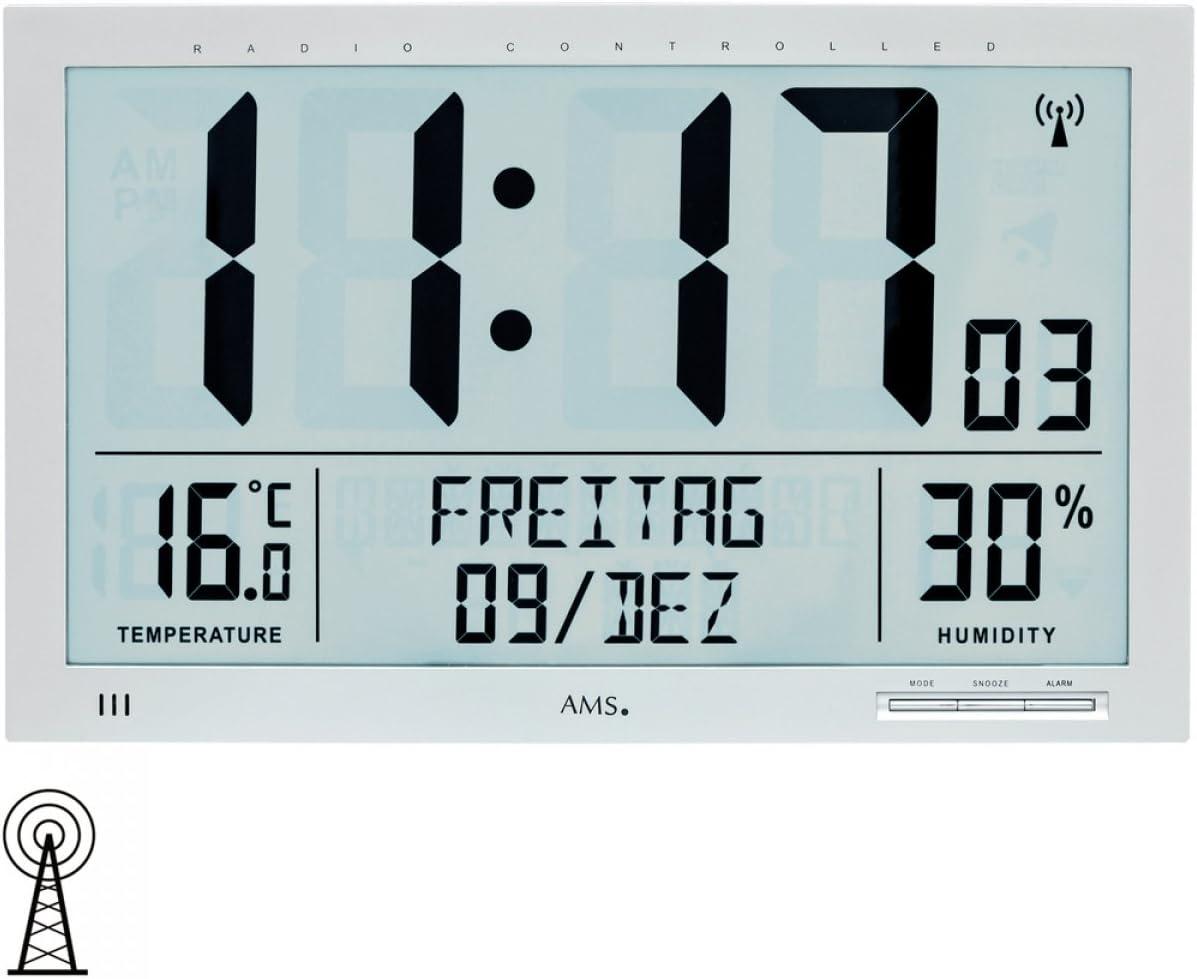 AMS Reloj de Pared (plástico, 25 x 21 cm), Color Plateado