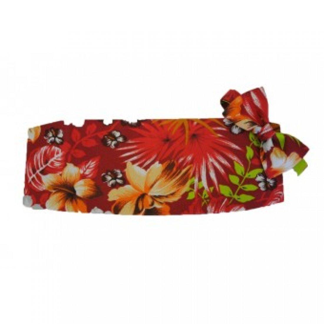 Red Hawaiin Floral Tuxedo Cummerbund and Bow Tie