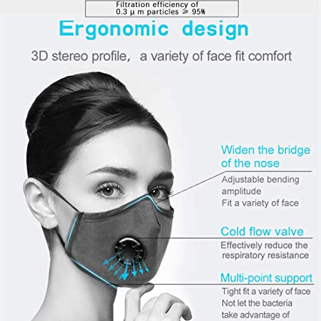 huikeer Face Cotton with Breathing Valve with 2pcs Activated Carbon Filter Replaceable Filters Haze Dust Face Health for Adults