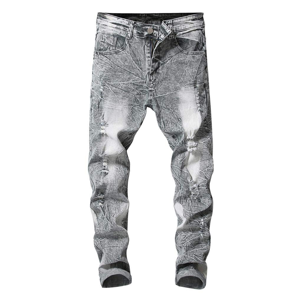 Sunyastor Mens Ripped Destroyed Holes Jeans Skinny Distressed Slim Fit Demin Pants Jeans Stretch Washed Pencil Jeans Pants