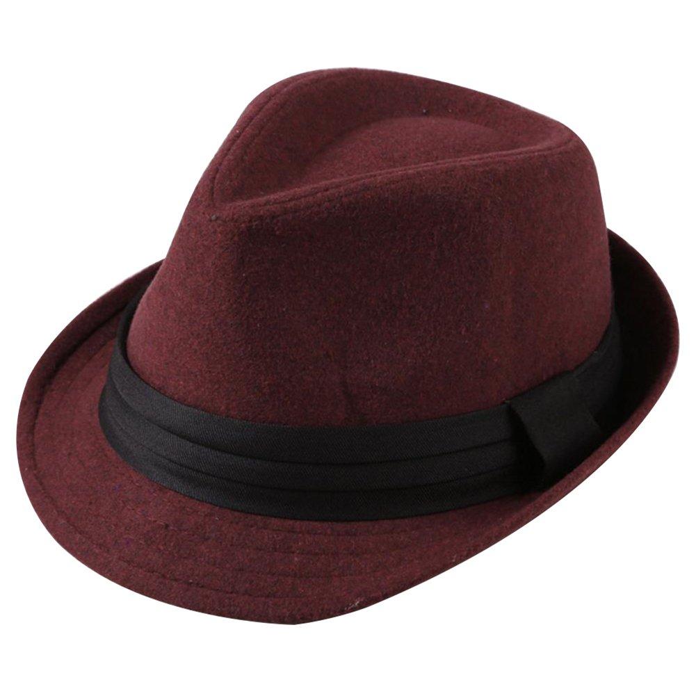 LAMEIDA Vintage Bowler Hats for Men Fedora Cap Wool Felt Cloche Bucket Jazz Hat for Winter Autumn