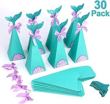 Howaf Set di 30 Scatole Regalo di Sirena Fai da Te Caramelle Scatole, Sirena Bomboniere per Bambini Ragazze, Compleanno Feste Decorazioni, Baby Shower