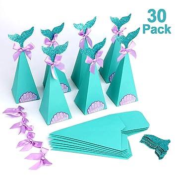 Howaf Lot 30 Sirena Regalo Cajas, DIY Manualidades Cajas para Infantiles niños Niñas, Fiesta de cumpleaños, Baby Shower, artículos de Fiesta Sirena, ...