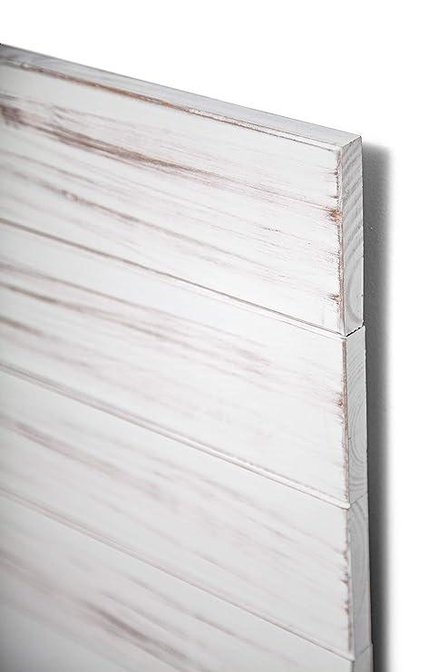 SUENOSZZZ - Cabecero de Madera ANETO Color Blanco para Pared. Cabecero de Tablas Verticales. Estilo Vintage, para Camas de 135 | Cabeceros de Cama | ...
