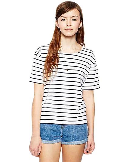 Yiiquan Mujer Verano Moda Camiseta Blusa Tops Corta Manga Raya Clásico Blouse: Amazon.es: Ropa y accesorios