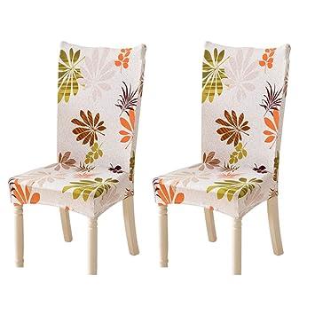 Feilaxleer Fundas para sillas Comedor elásticas Universal Pack de 2,Cubiertas para sillas Respaldo Alto para hogar, Hotel, Banquetes,impresión Floral