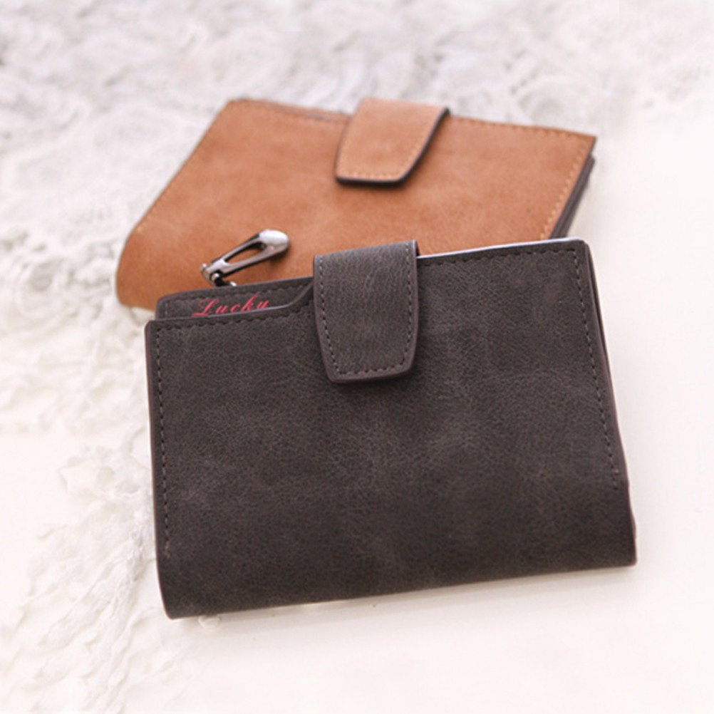 6dfb30d2410f Yiuswoy Pu Leather Wallet Purse Card Slot Wallet Small Clutch Purse ...