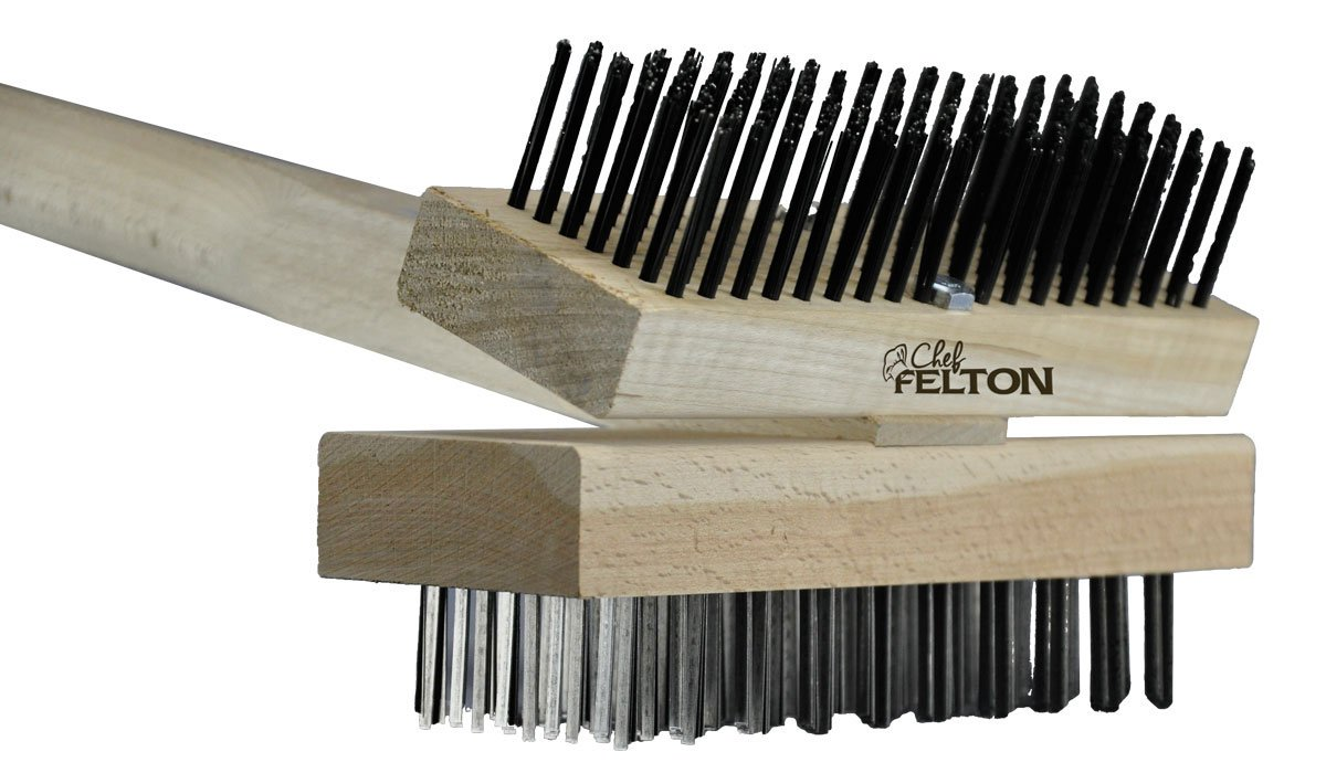 Chef Felton - CHEF100 - (Pack of 2) Ultimate Double-Sided Angled Grill Brush with Flat and Round Steel Wires - 48'' Handle