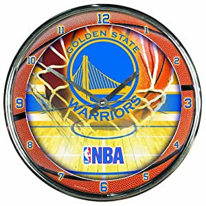 NBA Golden State Warriors Chrome Clock