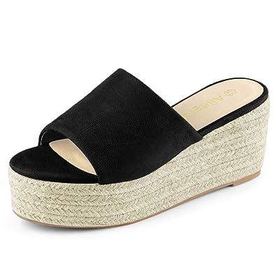 5f8522c7441 Allegra K Women s Flatform Espadrille Platform Black Slide Sandals - 6 ...