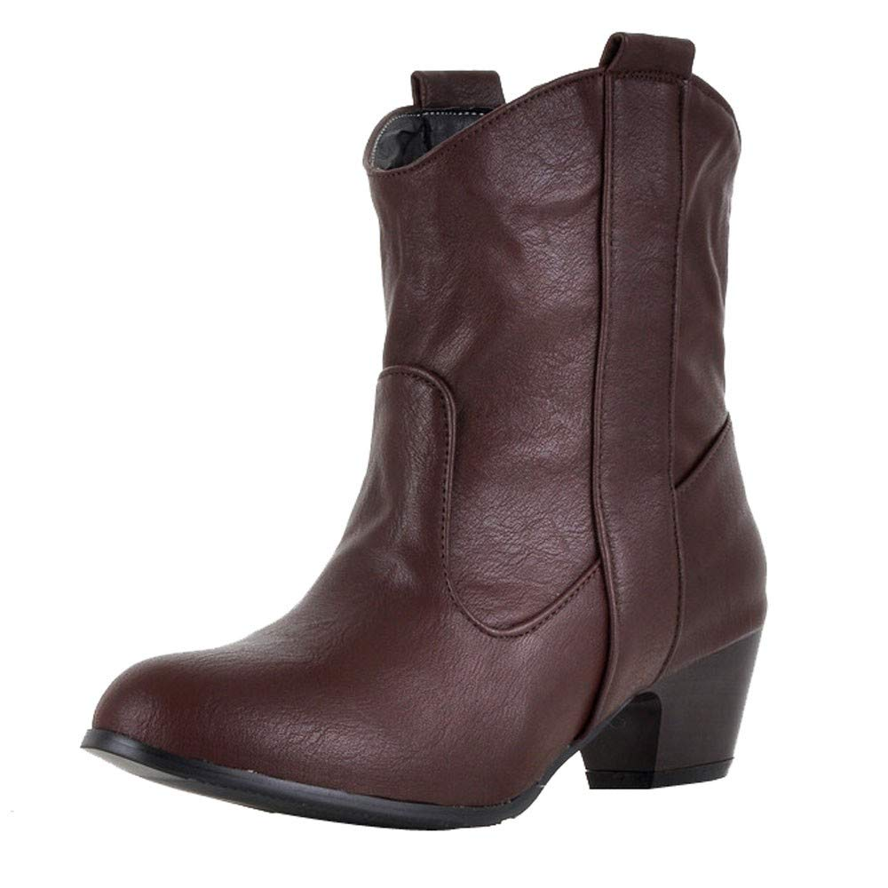Aurorax-shoes Womens Leather Low Boot High Heel Shoe Cowboy Style Ankle Boots Size 5.5-9.5 (Brown, US:9.5/LED 10.3'')