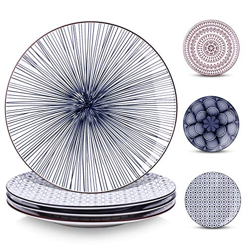 Y YHY 10 Inches Porcelain Dinner Plates, Large Serving Plate Set, Assorted Blue White Patterns, Set of 4 -