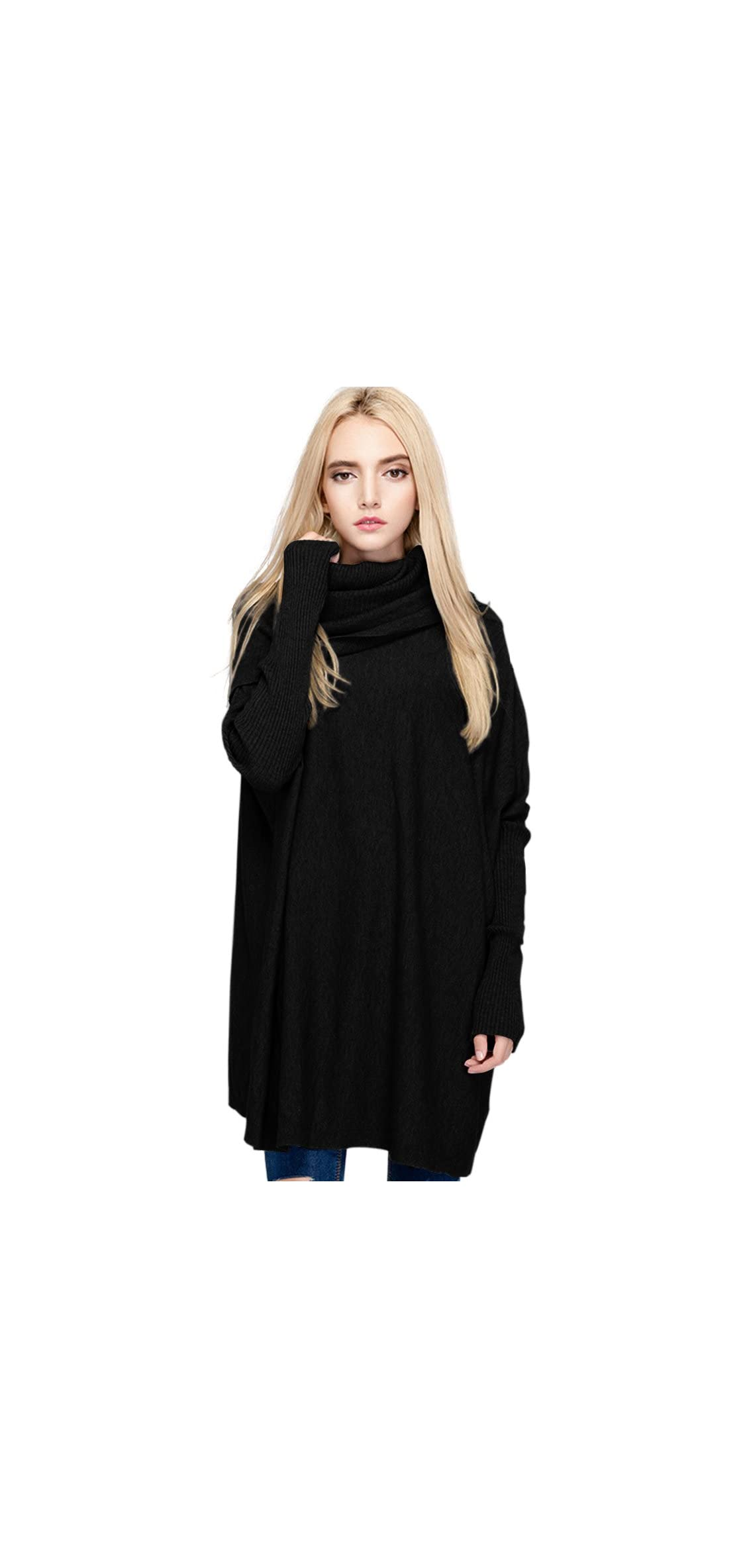 Women's Oversized Pullover Sweater Loose Cowl Neck Long Sleeve