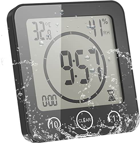 ALLOMN Bathroom Clock, LCD Digital Shower Clock Alarm Waterproof Touch Control Temperature Humidity, Countdown Timer, 3 Mounting Methods, Battery Power Black
