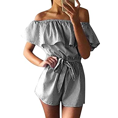 665b6c1943f Summer Playsuits Womens Off the Shoulder Bandeau Playsuit Ladies Jumpsuits  Short For Women Stripped Going Out