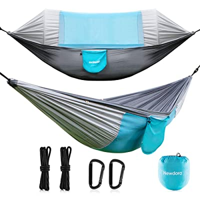 Newdora Hammock with Mosquito Net 2 Person Camping, Ultralight Portable Windproof, Anti-Mosquito, Swing Sleeping Hammock Bed with Net and 2 x Hanging Straps for Outdoor, Hiking, Backpacking, Travel: Sports & Outdoors