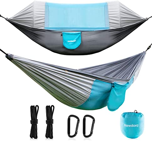 Travel Newdora Hammock with Mosquito Net 2 Person Camping Swing Sleeping Hammock Bed with Net and 2 x Hanging Straps for Outdoor Anti-Mosquito Hiking Backpacking Ultralight Portable Windproof