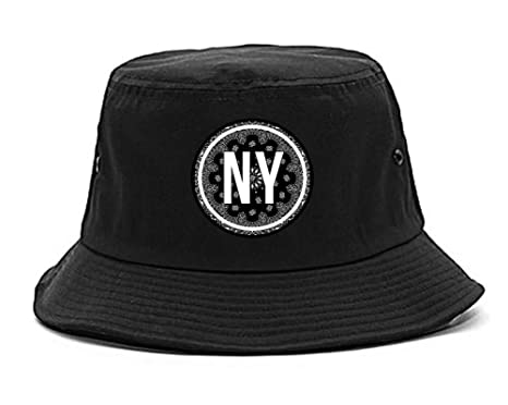 af1da142254 Kings Of NY New York Bandana Print Paisley Dope NYC Bucket Hat Black