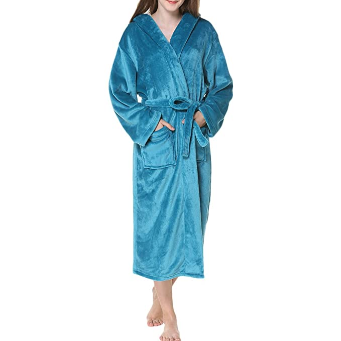 Zhhlinyuan Unisex Supersoft Luxury Dressing Gown, Hombres & Mujeres Plus Size Fleece Flannel Hooded Shawl