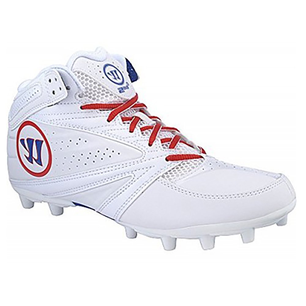 Warrior Second Degree 3.0 Lacrosse Cleat, White/Blue/Red, 10.5 D US