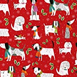 Entertaining with Caspari 9703RC Christmas Canines Continuous Roll of Gift Wrapping Paper, 8', 1-Roll, Multicolored