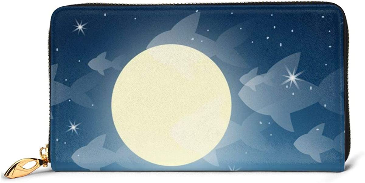 Dreaming Cats On A Roof Vector Image Leather Zipper Clutch Bag Wallet Large Capacity Long Purse For Women Customized