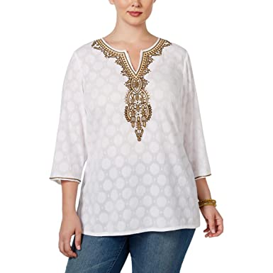 1ab91601f82 Charter Club Plus Size Top 0X 3 4 Sleeve Beaded Tunic White at ...