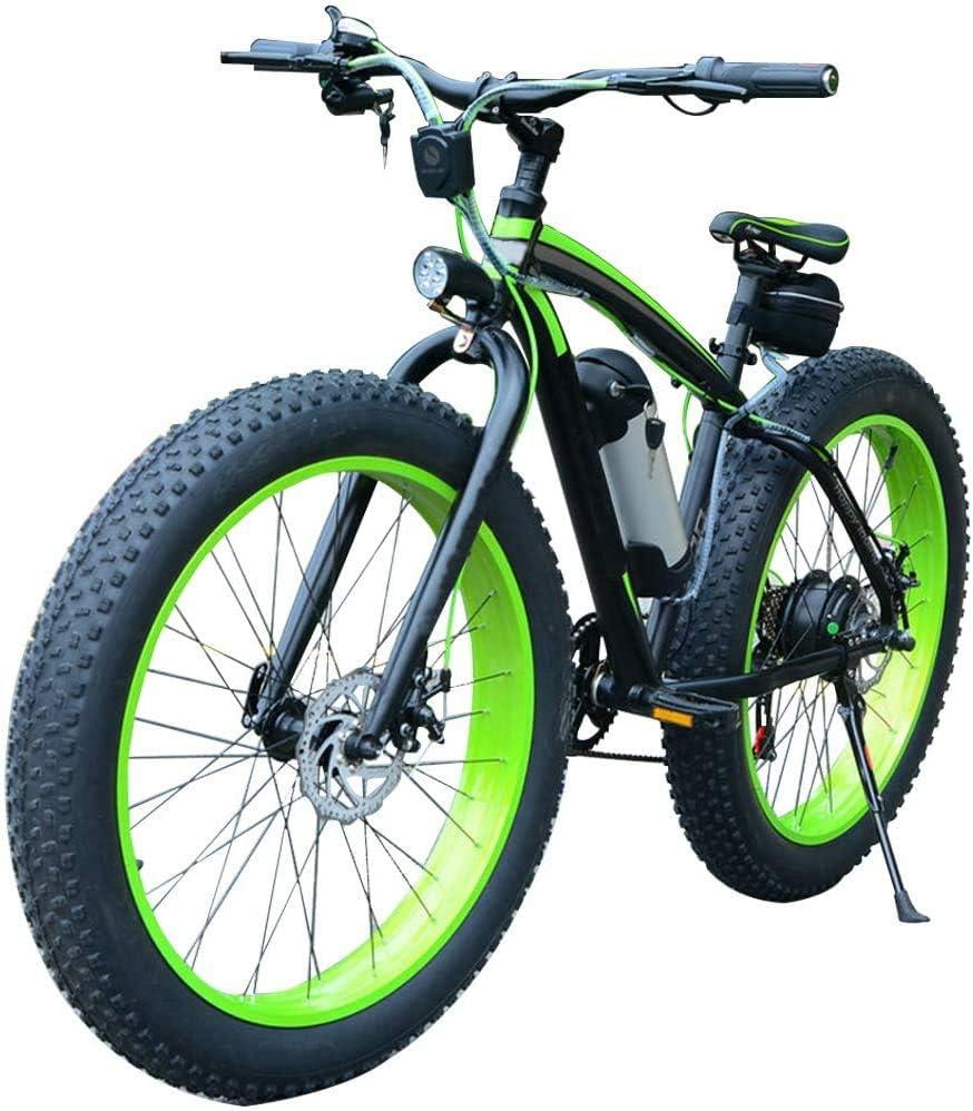 D&XQX Bicicleta eléctrica, Bicicleta de montaña 36V / 350W 26 * 4 Pulgadas Fat Tire Bikes 7 velocidades Ebikes para Adultos con batería de 10 Ah