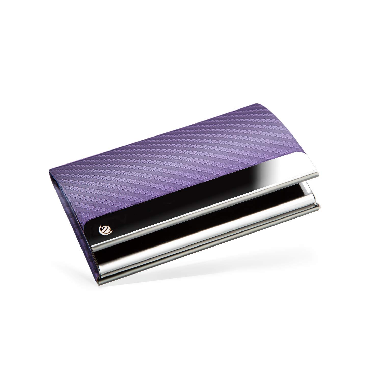 BRODI/® con chiusura magnetica rosa con effetto fibra di carbonio Custodia per biglietti da visita in acciaio INOX confezione regalo inclusa porta biglietti da visita