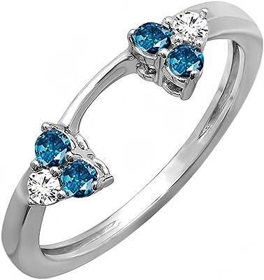 anillos oro blanco combinación de diamantes azules y blancos
