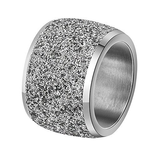 PAURO Women's Stainles Steel Silver Wide Wedding Band Ring with Sparkly Bling Small Disc Sequins Pave Settings Size 8