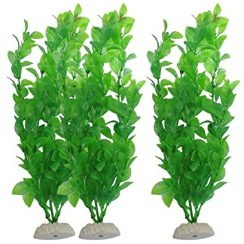 FZZ698 3 piezas de césped artificial acuario pecera verde plástico plantas artificiales Diy Decor: Amazon.es: Hogar