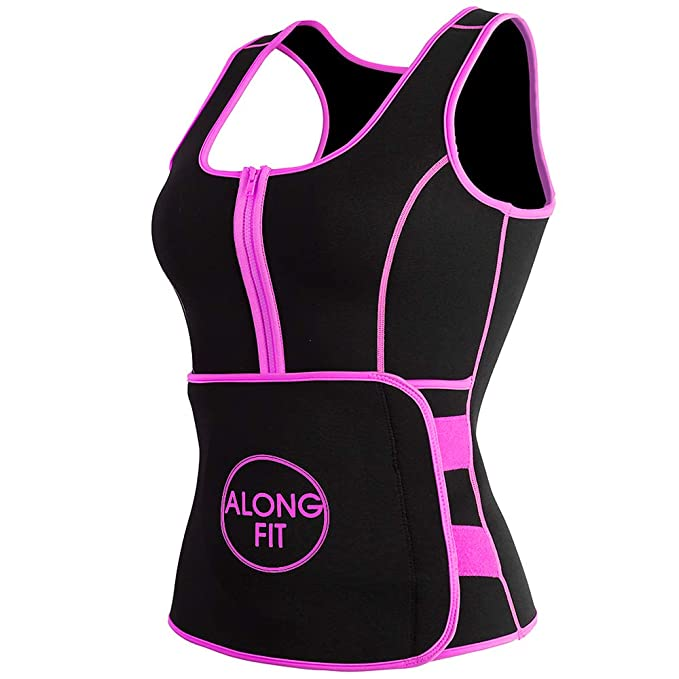 9d8d1369111d0 Amazon.com   ALONG FIT Neoprene Sweat Sauna Vest for Women Weight Loss with  Adjustable Waist Trainer Trimmer Belt   Clothing