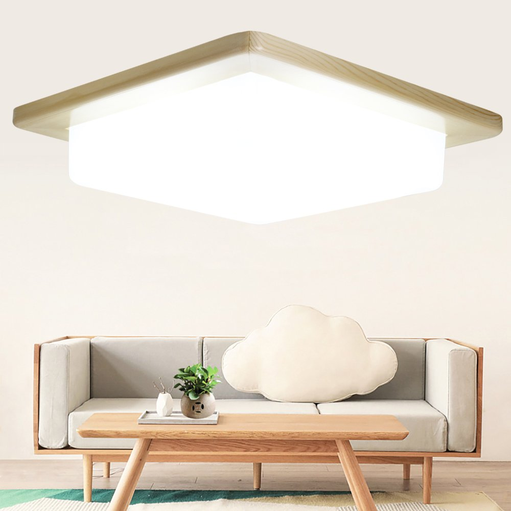 LED Flush Mount Ceiling Light, KingSo 11.8'' Retro Wood Style Ceiling Lamp 16W (100W Incandescent Equivalent) 6000K Pure White 1400Lumens Square Ceiling Lamp for Kitchen Living Room Hotel