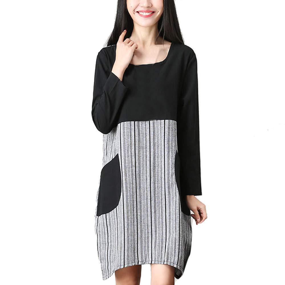 JESPER Women Cotton Retro Plus Size Long Sleeve Striped Casual Loose Pocket Mini Dress Black