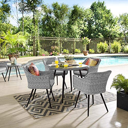 Modway EEI-3320-GRY-GRY-SET Endeavor 5 Piece Outdoor Patio Wicker Rattan Dining Set Gray