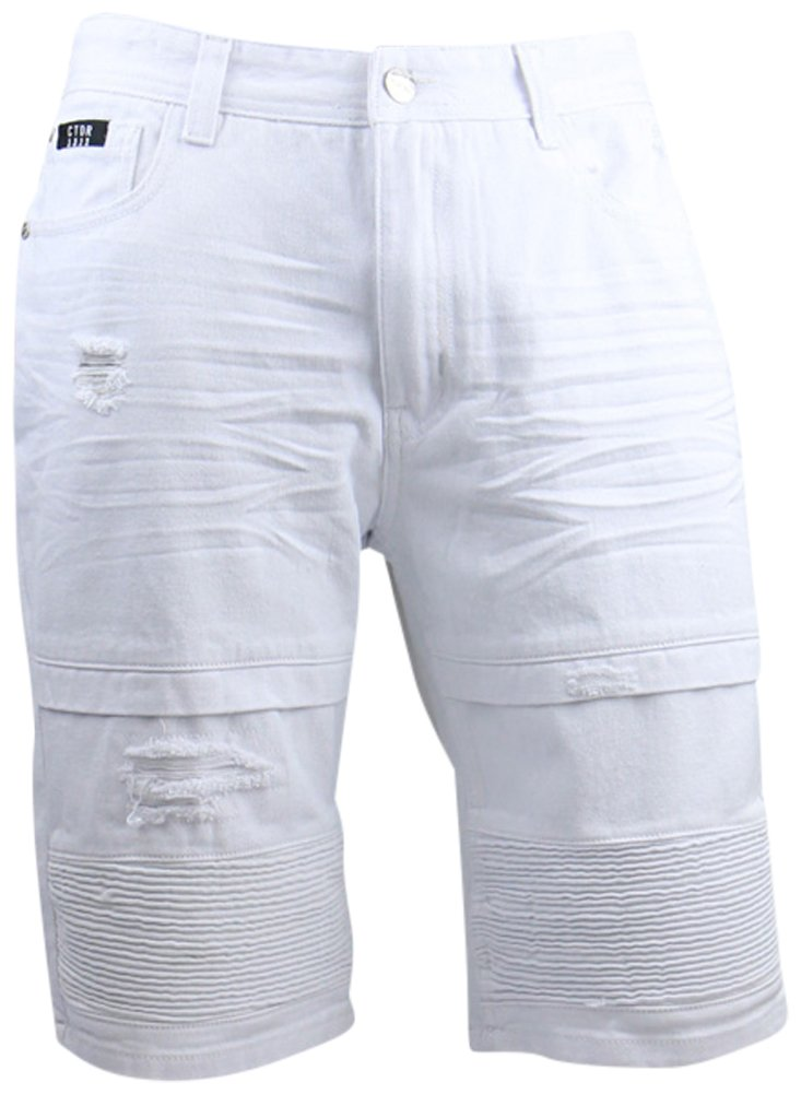 Contender Mens Biker Denim and Twill Shorts, White Twill, 32